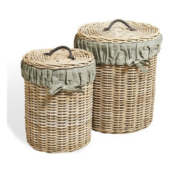 Interlude - Interlude Anglais Round Baskets - Set of 2 - In a fresh gray wash finish combine with army gray linen liners the Anglais Round Baskets marry functionality and style.