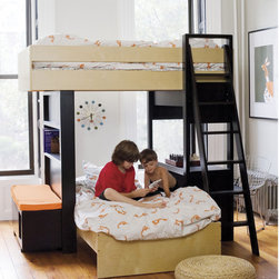 Argington Uffizi Bunk Bed with Bench - This sleek Uffizi bunk bet help you make the most of your children's shared room. Uniquely, the bottom and top bunks are situated perpendicular rather than parallel to each other. Providing a private space for each child while retaining the open spaces in the room, kids will adore the window-like openings on the lower bunk.