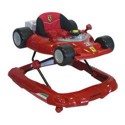 Ferrari - F1 Baby Walker - Features: -Walker.-Smaller foot print for easier mobility.-Anti-skid pads, activity try with steering wheel, sounds, buttons and rattles for safe comfortable and fun environment.-Comes with fully padded and easy to clean seat with three height adjustments.-Colorful automotive Formula 1 theme provides playful and stimulating experience for your child.-Distressed: No.Dimensions: -Overall Product Weight: 14 lbs.