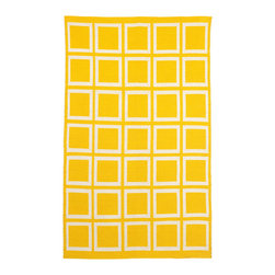 Fab Habitat - Sunny Indoor Cotton Rug, Mimosa & Bright White, 6x9 - Hand-woven from recycled cotton, this soft area rug is loaded with casual charm. Use it to dress up an informal space or to relax a traditional setting. For a dramatic change, flip it over and see the pattern in reverse. Whichever way you view it, this rug's bold graphics and sunny color are sure to set off sparks.