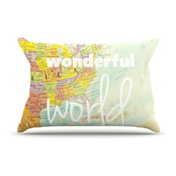 "Kess InHouse - Libertad Leal ""What a Wonderful World"" Map Pillow Case, King (36"" x 20"") - This pillowcase, is just as bunny soft as the Kess InHouse duvet. It's made of microfiber velvety fleece. This machine washable fleece pillow case is the perfect accent to any duvet. Be your Bed's Curator."