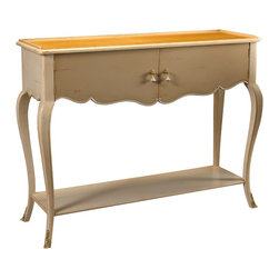 French Heritage - Gastonia Console, Beige and Sunbleached Cherry - A console table so pretty and graceful it's hard to believe the amount of storage it offers, with tabletop, lower shelf, and two-door cabinet. -Two Doors -One Shelf