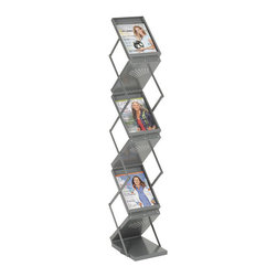 """Safco - Safco Ready-Set-Go! Double Sided Folding Literature Display - Safco - Magazine Racks - 4132GR - This folding literature display rack makes displaying literature a breeze. The ability to store literature in the pockets during transport makes this ideal for trade show use. Double sided display features six pockets and easily folds to only 7-1/2"""" high after use. Constructed of durable, heavy-gauge steel, and a scratch-resistant Gray powder coat finish, these displays will hold up to frequent use. The heavy-duty carrying case (included), will assure that your literature arrives fresh and in the pockets, ready for instant display."""