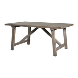 """Four Hands - Rectangular Dining Table in Solid Wood, 93 Inch - Gather around this dining table at least once a day for some real family time. This solid wood rectangular dining table lends itself to conversation. Depending on the size of your family and dining space, we have two lengths from which to choose. Rustic style with a A-shaped brace for added strength. Pair this table with a matching bench and a few of the matching dining chairs and you""""ve created a warm, welcoming family atmosphere."""