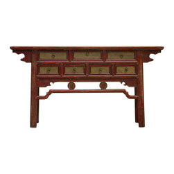 Madera Home - Nahla Red and Tan 7 Drawer Console Table - Our collection of tables are built of beautiful elm wood reclaimed from buildings and furniture pieces that graced the eclectic Qing dynasty. Each piece is meticulously hand built and finished by time-honored craftsman utilizing over 120 different processes. 200 year old hand carvings are intricately placed in some, while the simplistic lines and natural wear age make others unique, and still others are hand painted with beautiful villages, kimono, and lotus scenes. Perfect in the entry or behind the sofa, no two pieces are alike.