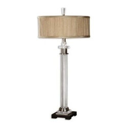 Uttermost - Uttermost 26753-1 Rowley Glass Table Lamp - Fluted glass column with brushed aluminum details and crystal accents. The round drum shade is a silken, golden champagne, pleated fabric.