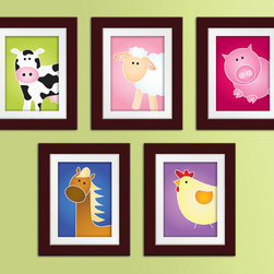Farm Series Prints by Sweet n Snappy Designs - These farm animal prints are sweet — but even sweeter, the seller is able to make them in a variety of background colors to coordinate with any decor.
