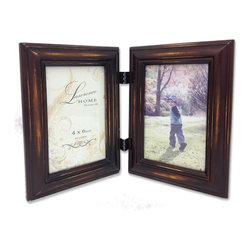 Lawrence Frames - Weathered Espresso 4x6 Hinged Double - Beautiful distressed Espresso wood picture frame.  Hand finished so that every piece is unique and different.  Designer wood picture frame has a casual but elegant decorative look.  High quality Espresso velvet backing.  Frame can stand vertically or horizontally and comes with hangers for horizontal or vertical wall mounting.   Individually boxed.