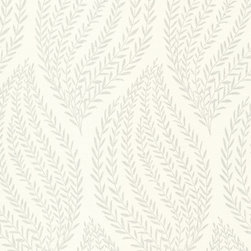 Kenneth James - Naturale Sienna Leaf Wallpaper - It's hard not to be fond of these fronds. This subtle yet graphic wallpaper features a pattern of silvery, shimmery stems on a white background — the perfect way to lighten and enliven your favorite space. Each roll is 20.5 inches wide and 33 feet long, and has a 25.2 inch repeat and straight match.