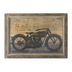 Uttermost - Ride Framed Art - Get your kicks in your decor. This framed motorcycle artwork celebrates the freedom of the open road in handsome neutral tones.