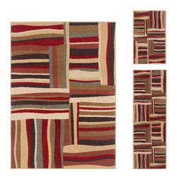 None - Lagoon Multi Contemporary 3-Piece Area Rug Set - Refresh your style with the fun and versatile Lagoon 4560 Multi 3-piece rug set. This set has an abstract design represented in shades of red,tan,brown,green and black,with a simple abstract pattern.