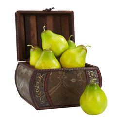 """Nearly Natural - Faux Pear (Set of 6) - Enjoy a symbol of an abundant harvest. Six ever-so-delicious looking pears with a rich blending of color are just begging to be bitten into. Careful though G�� don't bite G�� they aren't quite real! But real food or not, this pear collection gives the appearance of """"bounty"""" to be shared all year long without ever having to worry about fruit spoilage. Height: 3.75 in; Width: 3 in; Depth: 3 in."""