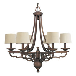 Thomasville Lighting - Thomasville Lighting P4567-102 Meeting Street 6 Light 1 Tier Chandelier - Thomasville Lighting P4567-102 Six Light Meeting Street Single Tier ChandelierFeaturing graceful scrolled metalwork with Ecru Linen Pleated Fabric shades, the style and quality of the handiwork on this beautiful fixture becomes apparent from the first time you see it. A hand worked iron feel sets this six light chandelier apart as a perfect classic craftsman / mission style addition to your foyer or dining room.With a Forged Black or Roasted Java finish, the Meeting Street collection features antique opal swirl art glass.Thomasville Lighting P4567-102 Features: