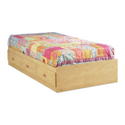 "South Shore - Lily Rose Twin Mates Bed Box - The Lily Rose Mates Bed is constructed of a durable particleboard with a romantic pine finish. It is a great addition to the d cor of your little girl's bedroom with flower accents. Also its three deep storage drawers, located conveniently beneath the bed, make this design both attractive and functional.The Lily Rose Collection is a perfect fit for any fine young lady. South Shore's stylish and family-friendly furniture is made of laminated engineered wood, which gives it great strength and durability. They use wood panels entirely made from recovered and recycled material. While they do their share to preserve the environment by conserving our forests, South Shore Industries makes no compromise when it comes to quality and product durability. These quality products are designed for easy maintenance and offered at very competitive prices. Features: -Fits twin size mattress only.-Three-drawer bed box unit.-Sintec drawer glides.-Ships ready - to - assemble.-Bed only - bookcase is sold separately.-Comes in Romantic Pine finish.-Constructed of particleboard with a laminate finish.-Collection: Lily Rose.-Distressed: No.-Box Spring Required: No.-Slats Required: No.-Weight Capacity: 500 lbs.-Country of Manufacture: Canada.Dimensions: -Overall Dimensions: 14'' H x 41'' W x 77'' D.-Interior Drawer Height Top to Bottom: 4.25"".-Interior Drawer Width Side to Side: 17.25"".-Interior Drawer Depth Front to Back: 22.5"".-Overall Product Weight: 119 lbs.Warranty: -5 Years manufacturer's limited warranty."