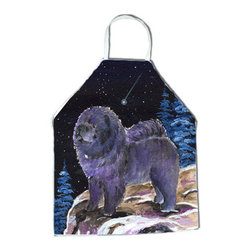 Caroline's Treasures - Starry Night Chow Chow Apron SS8456APRON - Apron, Bib Style, 27 in H x 31 in W; 100 percent  Ultra Spun Poly, White, braided nylon tie straps, sewn cloth neckband. These bib style aprons are not just for cooking - they are also great for cleaning, gardening, art projects, and other activities, too!