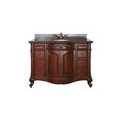 Avanity Provence 48 In. Vanity - The Provence Collection is offered in a beautiful distressed cherry wood finish with hand carved French details.
