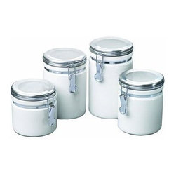 Anchor Hocking - 4pc White Ceramic Canister Set - Anchor Hocking 03922MR Home Collection 4 Pc. White Ceramic Clamp Top Canister Set with chrome lids - Gift Box