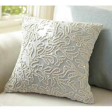 "All-Over Coral Decorative Pillow, 12"" sq. - A jeweled motif inspired by coral reefs is detailed with shell sequins on our embroidered pillow. 12"" square filled pillow. Made of pure cotton chambray. Reverses to solid. Spot clean. Imported."