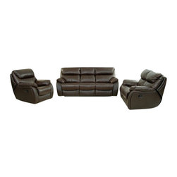 """ACPJonathan - 2 pc Jonathan malt colored leather match upholstered overstuffed arms sofa - 2 pc Jonathan malt colored leather match upholstered overstuffed arms sofa and love seat with recliner ends.  This set features overstuffed arms with recliners on each end of each piece.  sofa measures 85"""" x 41"""" x 40"""" H.  love seat measures 63"""" x 41"""" x 40"""" H.  Optional single recliner chair also available separately at additional cost and measures 40"""" x 41"""" x 40"""" H.  Some assembly required."""