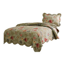 American Traditions - Edens Garden Twin Quilt with Pillow Sham - Flowering vines on a bed of sage green with detailed machine stitching and scalloped edges. Eden's Garden is a classic Quilt used in understated luxury. Pre-washing provides a natural worn look.