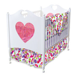 Room Magic - Heart Throb Crib Set - Your girls heart will throb over this fun designer fabric with graphic swirls of multi-colored hearts. The 4 piece crib bedding set includes bumper, solid crib sheet, crib comforter (print on top, solid on bottom) and gathered print crib skirt in the finest 100% cotton.