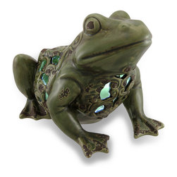 Zeckos - Green Filigree Frog Ceramic LED Solar Accent Light - This ceramic frog statue will have your garden, pond or pathway glowing With a glossy hand-painted weathered finish and a filigree body, this delightful frog statue features a solar powered LED light. Even if you can't hear him croak, sitting at 6.75 inches (17 cm) high, 7.25 inches (18 cm) long, and 8 inches (20 cm) wide, you'll be able to spot this bright bodied frog from a distance This frog would look great near an entryway outside your home or at the garden gate, and makes a wonderful gift for frog fanciers.