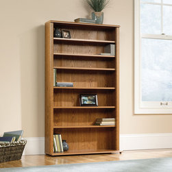 """Sauder - Orchard Hills Multimedia Storage Rack - American country style that provides endless versatility in the Orchard Hills Collection. Solid cases are softened by finely detailed moldings while warm Carolina Oak finish makes this piece the perfect accompaniment to the existing decor of any home. Features: -Patented slide on moldings.-Made in USA.-Orchard Hills collection.-Commercial Use: No.-Material: Engineered Wood.-Solid Wood Construction: No.-Scratch Resistant: No.-Exterior Shelves Included: No.-Cabinets Included: No.-Finish: Carolina Oak.-Distressed: No.-Collection: Orchard Hills.-Recycled Content: No.-Eco-Friendly: Yes.-Product Care: Wipe clean with damp cloth.-Storage Capacity: Holds 336 CDs or 497 DVDs.-Country of Manufacture: United States.-Wall Mountable: No.Specifications: -ISTA 3A Certified: Yes.Dimensions: -Overall Height - Top to Bottom: 55.591"""".-Overall Width - Side to Side: 32.441"""".-Overall Depth - Front to Back: 9.449"""".-Drawer: No.-Shelving: Yes.-Cabinet: No.-Overall Product Weight: 51 lbs.Assembly: -Assembly Required: Yes.-Tools Needed: #2 Philips screwdriver and hammer.-Additional Parts Required: No.Warranty: -Product Warranty: 5 Years."""