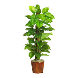 "Nearly Natural - 63"" Large Leaf Philodendron Silk Plant (Real - Not for outdoor use. Leaves feel as real as they look. Features natural looking trunks. Sits in a delightful wicker basket. Included container size: 12 in. W X 10.75 in. H33 in. W X 33 in. D X 63 in. H (20lbs). Bright, glossy, finely-detailed leaves are the secret to this plants striking beauty. Over 5' tall and set in a stylish bamboo planter, this giant Philodendron is guaranteed to bring new life to an otherwise plain decor. Ornately patterned vibrant foliage sits perched atop delicately winding stems. This expertly crafted masterpiece is designed with ""real touch"" greenery, creating a look and feel so real you'll have guests praising your green thumb."