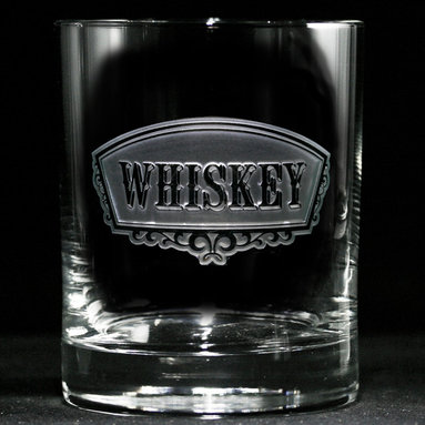 Crystal Imagery, Inc. - Whiskey Banner Glass, Set of 4 Engraved - These elegant, hand-crafted whiskey glasses will bring an air of cultivated taste to your home bar. Their beautifully engraved, classic banner labels have the same artisan quality and vintage style as your favorite special reserve spirits.