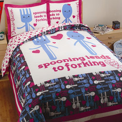 """David & Goliath - Spooning Duvet Set in White and Navy - The spoon and fork design with the text """"Spooning Leads to Forking"""" create the centerpiece. The duvet print on the reverse side is pink hearts on a white background matching the sheet set. Duvet set is reversible. Features: -Available in Twin or Full / Queen sizes. -Twin size includes 1 duvet cover and 1 standard sham. -Full / Queen size includes 1 duvet cover and 2 standard shams. -Color: White / Navy. -Material: 100% Cotton sateen. -300 Thread count. -Fabric detail: Printed. -Pattern: Utensils and hearts. -Match with the bed sheets. -Ideal fabric for sharp color registration. -Packaged in a beautiful recyclable cardboard box. -Machine wash for easy care. -Standard sham dimensions: 20"""" W x 26"""" D. -Twin duvet cover dimensions: 60"""" W x 84"""" D, 4 lbs. -Full / Queen duvet cover dimensions: 90"""" W x 92"""" D, 4 lbs."""