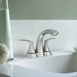 Moen Darcy Two-Handle Brushed Nickel Bathroom Faucet - Petal–like handles and swan–like spout bring a relaxed feeling to the bath.