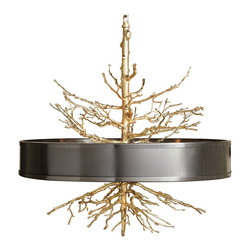 Kathy Kuo Home - Bijou Tree Branch Hollywood Regency Brass Bronze Ceiling Pendant Lamp - Illuminate your surroundings with this eclectic pairing of textured, polished brass tree branches surrounded by a smooth, round bronze drum shade. Blending rustic and modern with a finishing touch of Hollywood glamour, this four-light hanging pendant will be the focal point of your dining room, entrance or great room.