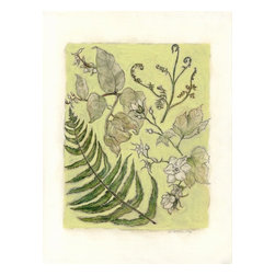 """Botanical Iii Mixed Media Drawing, Original, Drawing - """"Natural history botanical art. Mixed media drawing and painting of typical Northwest native plants found in the woods - ferns, berries and salal.  The paper size is 11"""""""" x 15"""""""", the image size is appx. 8.5"""""""" x 11"""""""" on substantial, archival Canson Montval watercolor paper. Will be shipped unframed in rigid cardboard packaging.  Purchase of original art does not transfer reproduction rights. Shipping price is an estimate and may vary depending on location. Please contact me for shipping costs of international and multiple items. """""""