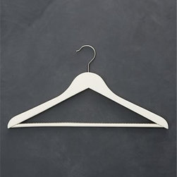 Ivory Suit Hanger with Nonslip Bar - For a closet you can take pride in, quality maple hangers painted matte ivory replace mismatched hangers with a clean, cohesive look. Nonslip bar and shoulder inserts retain slippery garments without puckering; satin-finish hook swivels for convenience.
