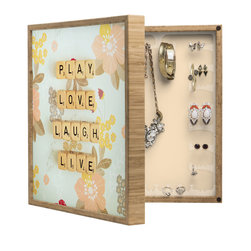 DENY Designs - Happee Monkee Play Love Laugh Live BlingBox Petite - Handcrafted from 100% sustainable, eco-friendly flat grain Amber Bamboo, DENY Designs BlingBox Petite measures approximately 15 x 15 x 3 and has an exterior matte cover showcasing the artwork of your choice, with a coordinating matte color on the interior. Additionally, the BlingBox Petite includes interior built-in clear, acrylic hooks that hold over 120 pieces of jewelry! Doubling as both art and an organized hanging jewelry box, It's bound to be the most functional (and most talked about) piece of wall art in your home! Custom made in the USA for every order.