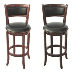 "AD9140 - Espresso or Cherry Finish Wood Swivel Bar Stool - Espresso or cherry finish wood swivel bar stool with back 24"" and 29"" seat height. Comes in cherry or espresso finish in your choice of 24"" and 29"" seat height. Some assembly required."