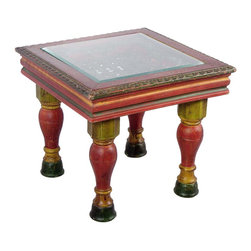 Hand Painted Wooden Carved Coffee Table with Glass Top - Square - Individually handcrafted  with multicolor patterns. It has a beautiful pattern iron grill to support the glass.