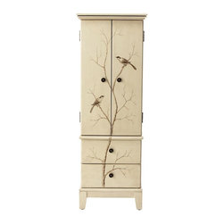Home Decorators Collection - Chirp Jewelry Armoire - Keeping jewelry organized can be a daunting task without the proper furniture. Our Chirp Jewelry Armoire features two deep drawers and two doors that open to plentiful storage space. The front of the armoire features a painted rendering of two birds perched in a tree. Lift-up top with felted cubbies and ring holders. Two doors open to reveal six felted drawers and space to hang necklaces. Two large lower drawers. Round metal hardware.
