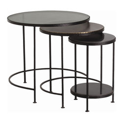 "Arteriors - Yardley Nesting Tables, Set of 3 - Set of 3 round nesting tables framed in hammered black iron wax finish with leather look texture on thin demilune legs. Largest is topped with muted champagne colored glass.  The mid-sized table is topped with oxidized brass, and the smallest table with black marble. Large: 28"" dia. X 26"" H  Medium:  21 1/2"" dia. X 24"" H  Small: 15"" dia. X 22 1/2"" H"