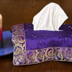 "Tissue Box Covers - Vibrant ""Plum Purple"" hand embroidered tissue box cover. Transform your ordinary Kleenex box to extraordinary!"