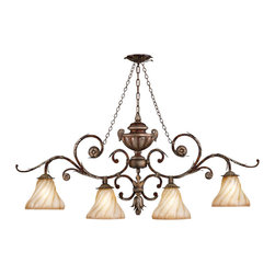 Fine Art Lamps - Stile Bellagio Chandelier, 302240ST - Oblong chandelier in tortoised leather crackle finish. Features hand blown textured glass shades. 100 watt A-19 bulb, medium base light bulb. UL Listed, porcelain socket. 6' of standard chain, rod or cable included. Bulb(s) not included. We recommend that all Fine Art Lamps are hung by a professional electrician. All fixtures come with specific hanging instructions and descriptions. Contact Houzz for specific questions regarding installation instructions