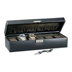 RaGar - Gents 4.5 in. Watch Box - Featuring compartments for six watches, this rectangular leather jewelry box will be a handsome, stylish way to protect your investments when they are not in use. Finished in classic black, the case is highlighted by a basketweave design that's stylish enough to display on a dresser or nightstand. Sturdy clasp closure. Holds six watches. Masculine basket weave accents. Made from genuine leather. Black color. 13 in. W x 4.5 in. D x 3.38 in. HThis ruggedly handsome collection is perfect for the man with style. Masculine basket weave accents this genuine leather collection. It will safely travel with you.