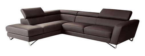 Nicoletti - Nicoletti Brown Italian Leather Sparta Sectional Sofa with Left Facing Chaise - The Nicoletti Sparta Sectional with Left Facing Chaise is a truly lovely modern sofa that will compliment any contemporary home. This great new product features top grain genuine Italian leather in Brown, stainless steel legs, adjustable head rest and ratchet mechanism.