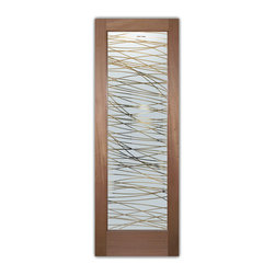 """Interior Glass Doors - Frosted Obscure THREADS PS - CUSTOMIZE YOUR INTERIOR GLASS DOOR!  Interior glass doors ship for just $99 to most states, $159 to some East coast regions, custom packed and fully insured with a 1-4 day transit time.  Available any size, as interior door glass insert only or pre-installed in an interior door frame, with 8 wood types available.  ETA will vary 3-8 weeks depending on glass & door type.........Block the view, but brighten the look with a beautiful interior glass door featuring a custom frosted glass design by Sans Soucie!   Select from dozens of sandblast etched obscure glass designs!  Sans Soucie creates their interior glass door designs thru sandblasting the glass in different ways which create not only different levels of privacy, but different levels in price.  Bathroom doors, laundry room doors and glass pantry doors with frosted glass designs by Sans Soucie become the conversation piece of any room.   Choose from the highest quality and largest selection of frosted decorative glass interior doors available anywhere!   The """"same design, done different"""" - with no limit to design, there's something for every decor, regardless of style.  Inside our fun, easy to use online Glass and Door Designer at sanssoucie.com, you'll get instant pricing on everything as YOU customize your door and the glass, just the way YOU want it, to compliment and coordinate with your decor.   When you're all finished designing, you can place your order right there online!  Glass and doors ship worldwide, custom packed in-house, fully insured via UPS Freight.   Glass is sandblast frosted or etched and bathroom door designs are available in 3 effects:   Solid frost, 2D surface etched or 3D carved. Visit our site to learn more!"""