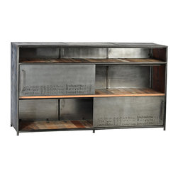 Albany Sideboard, Stainless Steel - Rustic with an industrial edge, the Albany sideboard is a striking addition in the dining room. Three shelves - one shorter than the other two - provide abundant storage potential. Each of the two lower, taller shelves features a sliding half-door that delivers a bit of cover and makes access to all your entertaining accoutrements a breeze. This sideboard's mixed-materials look uses wood plank shelves and metal framing and doors to create a striking, modern vibe.