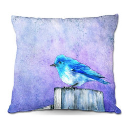 DiaNoche Designs - Pillow Linen by Brazen Design Studio - Bluebird Bliss - DiaNoche Designs works with artists from around the world to create astouding and unique home decor products.  Add a little texture and style to your decor with our Woven Linen throw pillows.  The material has a smooth boxy weave.  Each pillow is machine loomed, then printed and sewn ALL IN THE USA!!!  100% smooth poly with cushy supportive pillow insert with a hidden zip closure. Dye Sublimation printing adheres the ink to the material for long life and durability. Double Sided Print, machine wash upon arrival for maximum softness. Product may vary slightly from image.