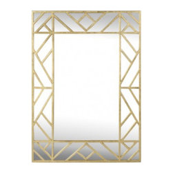Worlds Away - Worlds Away Meghan Mirror, Gold - Worlds Away Meghan Mirror in gold with diagonal line detail.