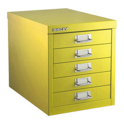 Bisley Five-Drawer Cabinet - These drawers are a fun alternative to the typical filing cabinet. Each drawer could contain a loose file or several file folders, and yet, they are small enough to use for pens, paperclips, et. al. (organizer inserts for these thing are sold separately). The best part is all of the great colors they come in - I have a vision of alternating light blue and red, or taxicab yellow and green...but I digress. These are also great for organizing tools, screws, bolts, and nails in a tool shop.