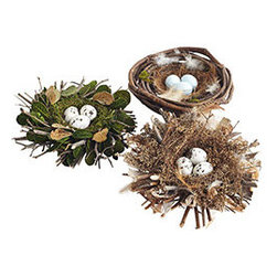 ROBIN'S NESTS - SET OF 3 - Long before twitter was something you signed up for, the sound of a chirping bird signaled the beginning of spring. Think of these twig nests (yup, they're made with real twigs!) as a symbol of the rebirth in nature and the dawn of newness. Use them to prop on tables or for a centerpiece.