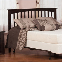 Atlantic Furniture - Atlantic Furniture Mission Twin Headboard in Espresso-King - Atlantic Furniture - Headboards - R187851 - The simple yet elegant style of the Mission headboard. will compliment any bedroom setting. The Traditional look and feel of the slats matched with generous crown molding make the Mission headboard. a popular selection.